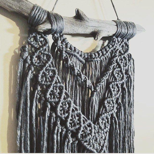 Charcoal goddess courtesy of @knottinhunny 🖤👑 #grey #macrame #wallart #wallhanging #homedecor #fiberart #handmade #rockmountainco