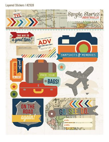 Simple Stories - Urban Traveler Collection - Layered Stickers at Scrapbook.com $3.99