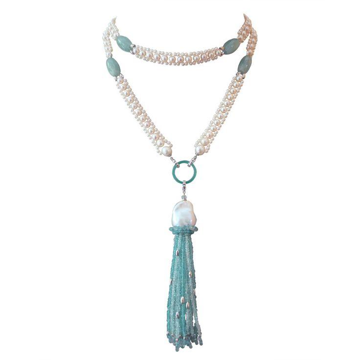Stunning Aquamarine Pearl Blue Topaz Tassel Necklace