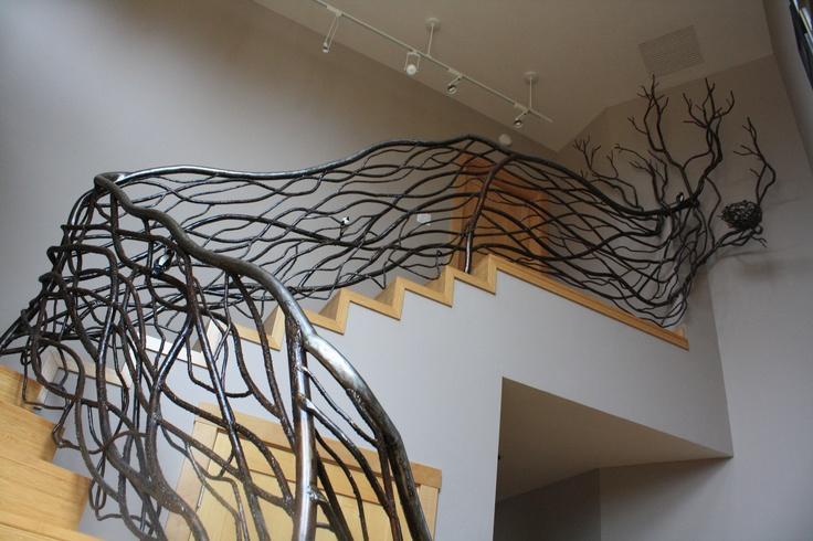 Winding Vine Railing with Tree Branch Finial, Welded Steel
