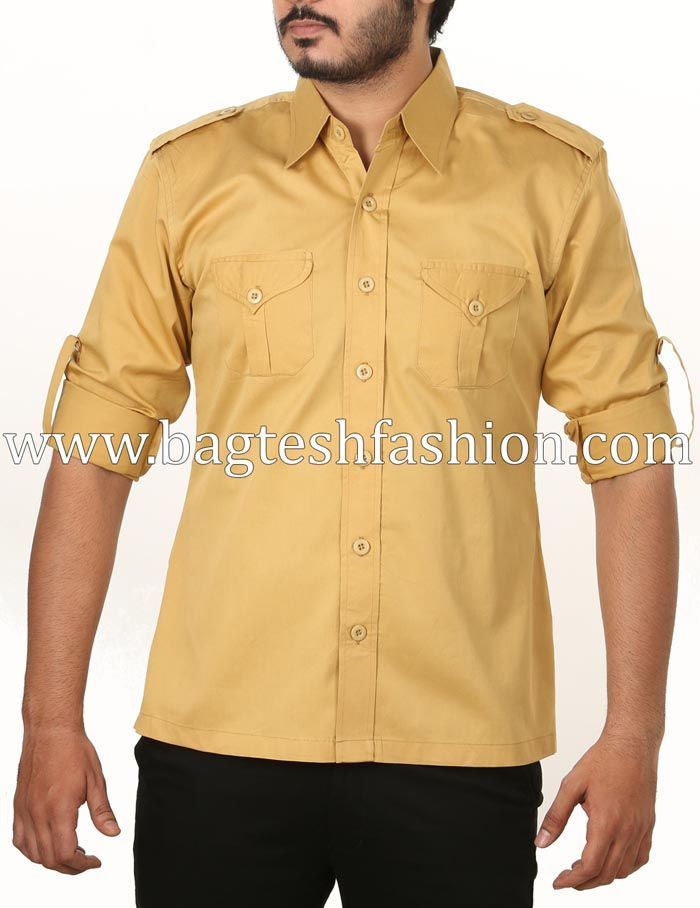 16c7f0e3d67de Mens Yellow Cotton Jodhpuri Hunting Shirt | Mens Shirts in 2019 ...