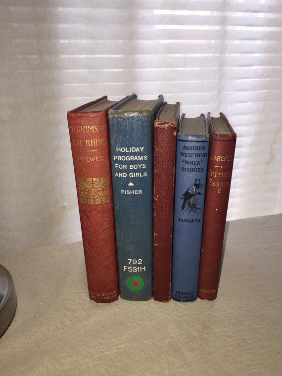 Lot 1800's RED BLUE Books Instant Library Photo by ABCVintageFinds