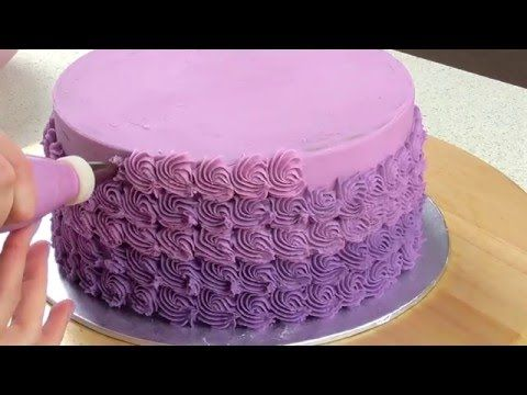 Mini Ombré Rosette Cake Decorating - CAKE STYLE - YouTube  Uses a Wilton 21 tip for smaller rosettes.