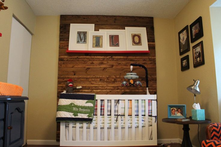 Focal Wood Wall with Crib: nursery vintage refurbished furniture. An odd eclectic blend of Nautical meets Mid-Century Modern. Boy design red blue madras alligator prep DIY bedroom