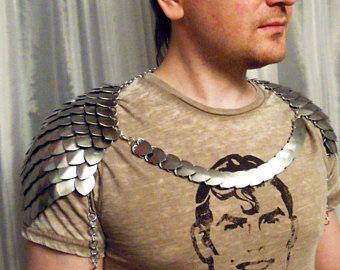 Escala correo hombro - Thorin Pauldrons - hombres escamas cadena de Maille - hombro armadura LARP cosplay plata medieval - Punk - alternativo