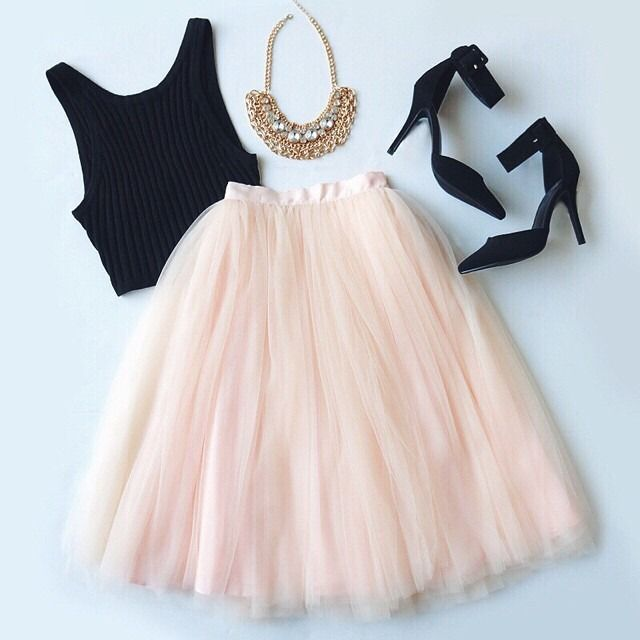 Pink tulle skirt and black tank outfit