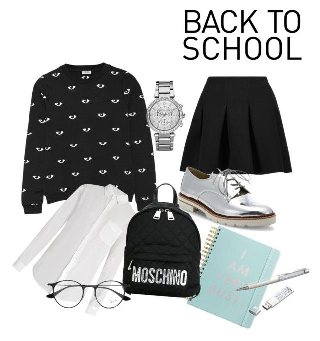 """School life"" by laczolaura on Polyvore featuring Kenzo, T By Alexander Wang, Michael Kors, ban.do, Current/Elliott, Moschino, Stuart Weitzman, Swarovski and Ray-Ban"