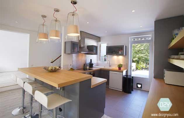 Maison conviviale cuisine ouverte avec bar bois colombes d coration pinterest cuisine - Bar de separation cuisine salon ...