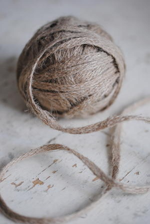 linen - handmade rope - it was made using a ''huge'' (10 cm)  flat wooden needle