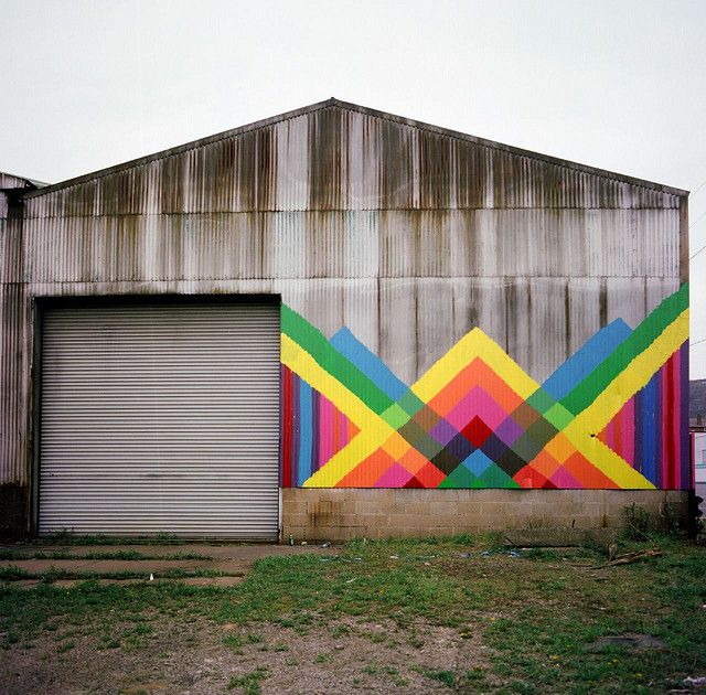 Barn mural designed by Maya Hayuk