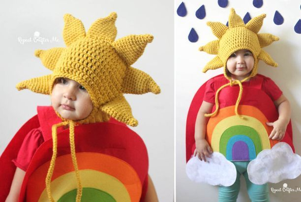 Crochet Sun Hat Pattern and Rainbow Costume (Repeat Crafter Me)
