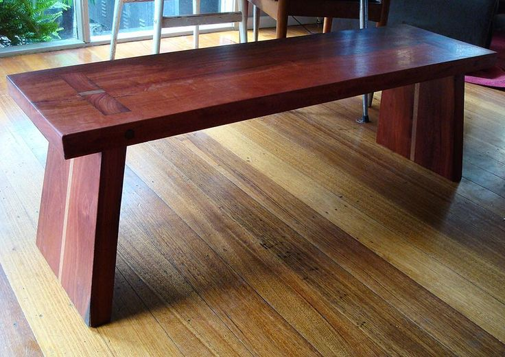 Japanese influenced bench seat... Red gum and vic ash... The legs are tapered…