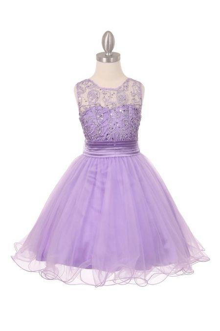 Lilac+Coiled+Sequin+Lace+Flower+Girl+Dress+CC-5001-LC+on+www.GirlsDressLine.Com