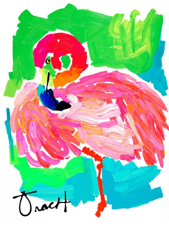 Art Print 16x20 Pink Green Turquoise Flamingo by Kelly Tracht, Lilly Pulitzer Style Painting Palm Beach Regency Item #3D