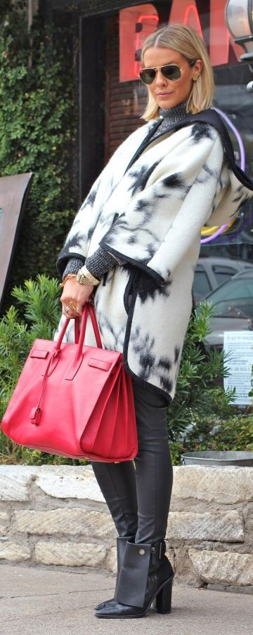 Black And White Print Hooded Poncho by What Courtney Wore