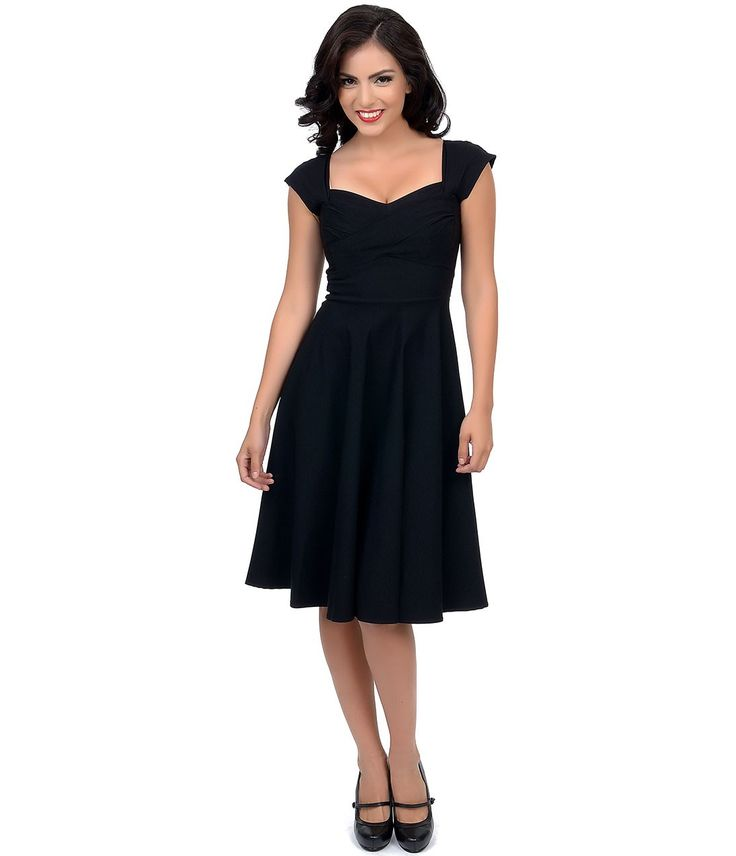 Stop Staring! Mad Style Black Cap Sleeve Swing Dress