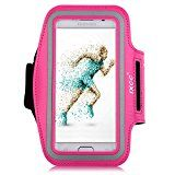 iXCC Trek Series Easy Fitting Sport Gym Running Armband with Dual Arm-Size Slots for Samsung Galaxy S6, MP3 Player - Pink