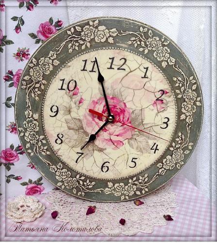 Часы «Старинные розы» http://dcpg.ru/mclasses/1143/ Click on photo to see more! Нажмите на фото чтобы увидеть больше! decoupage art craft handmade home decor DIY do it yourself clock tutorial
