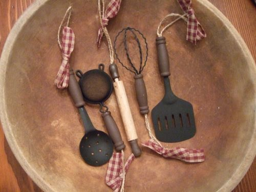 Primitive Country Farm House Kitchen Utensil Christmas Tree Ornaments - Set  of 5 | Christmas time | Christmas, Christmas tree ornaments, Christmas Tree. - Primitive Country Farm House Kitchen Utensil Christmas Tree