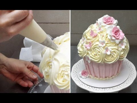 Giant Cupcake - How To Decorate by CakesStepbyStep