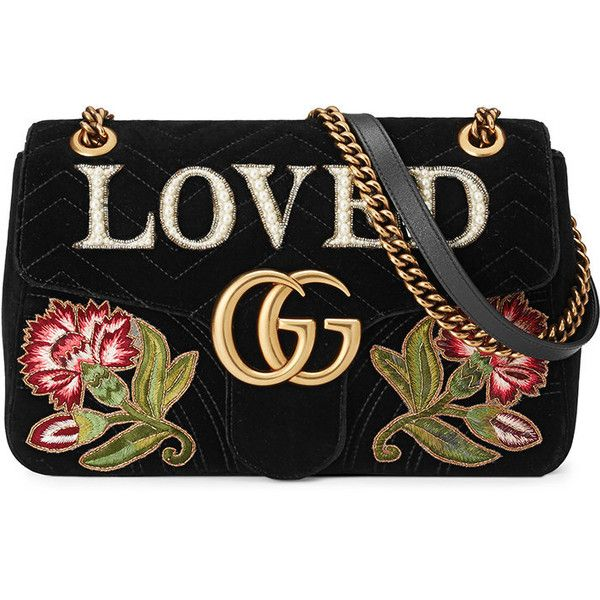 Gucci GG Marmont embroidered velvet shoulder bag (126,900 DOP) ❤ liked on Polyvore featuring bags, handbags, shoulder bags, black, embroidery handbags, shoulder handbags, chain shoulder bag, chain strap purse and shoulder hand bags