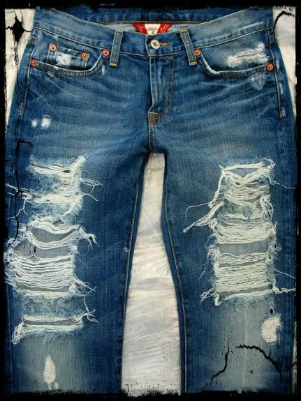 how to make distressed jeans holes bigger