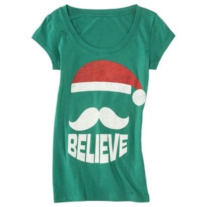 Juniors Believe Mustache Graphic Tee - Turquoise