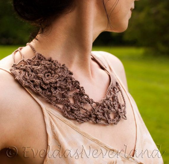 Wild Rose - Wearable Fiber Art Freeform Crochet Necklace Crochet Neckwear Bib Neckpiece Fiber Jewelry Statement Necklace OOAK Fiber Art in taupe by EveldasNeverland, $118.00