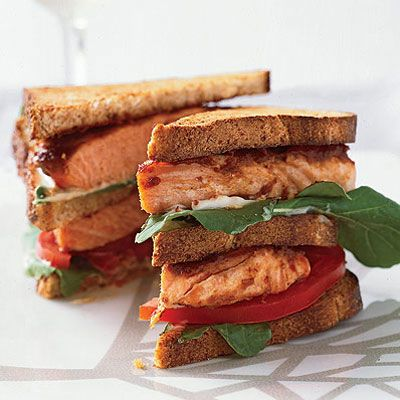 Charles Dale makes this healthy club sandwich with omega-3-rich salmon grilled in a lightly sweet, tangy tamarind sauce. The extra sauce here can be refrigerated for up to 1 week and is delicious on chicken or pork chops. Recipe: Salmon Club Sandwiches