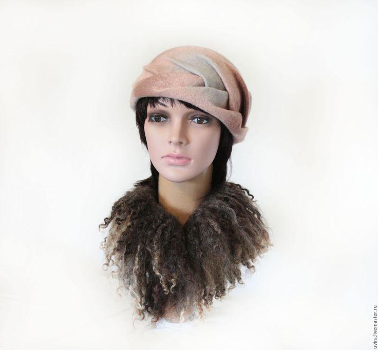 """Купить Шляпка """"Бесконечность чувств"""" - авторский войлок - комбинированный, пудровый, бледно-голубой, коса, плетение"""