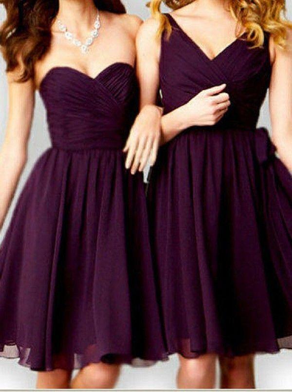 Schöne A-Linie Herzform Ausschnitt Mini Brautjungfernkleid mit Rüschen