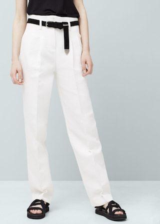 Pantalón recto lino - Pantalones de Mujer | OUTLET España