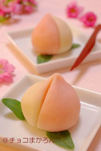 chinese mochi peach shaped | ... mochi, but I decided to make peach shaped Japanese sweets. Peaches are
