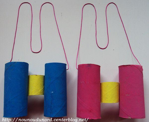 Jumelles de vue  réalisée avec des rouleaux de papier WC, explications sur mon blog http://nounoudunord.centerblog.net/592-jumelles-de-vue
