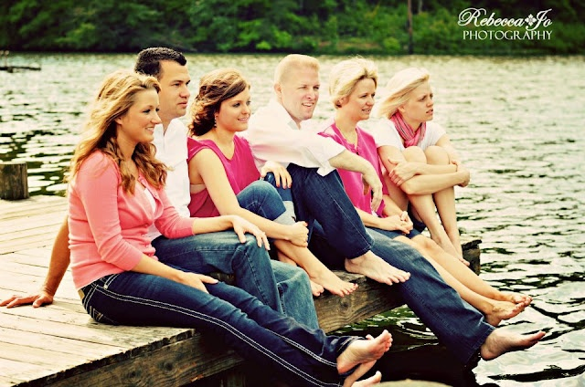 Large Family.  photo on the dock of kids