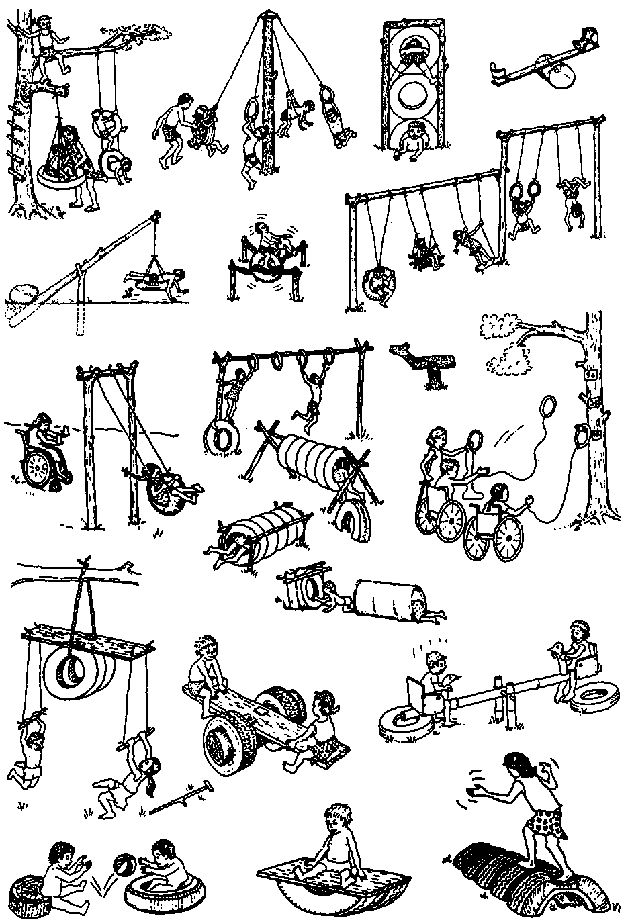 OLD TIRES have a hundred uses in a playground. Love all these ideas! They're great. We have 16 tires laying around from our cars and I want to put them to use!