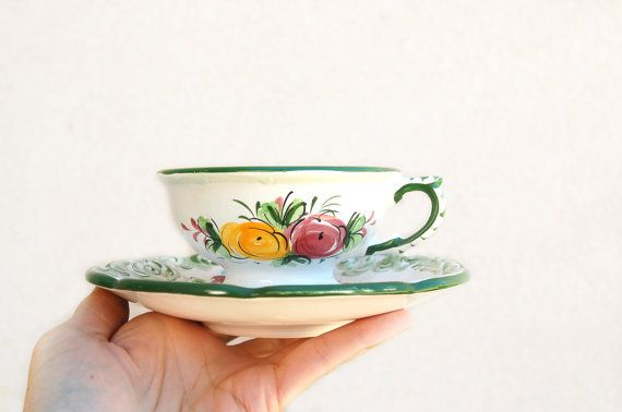 Vintage Vestal Hand Painted Alcobaca Portugal  Cup by TheSupplyit, $12.98