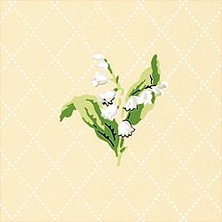Lily of the valley pattern in green and white on beige ground.