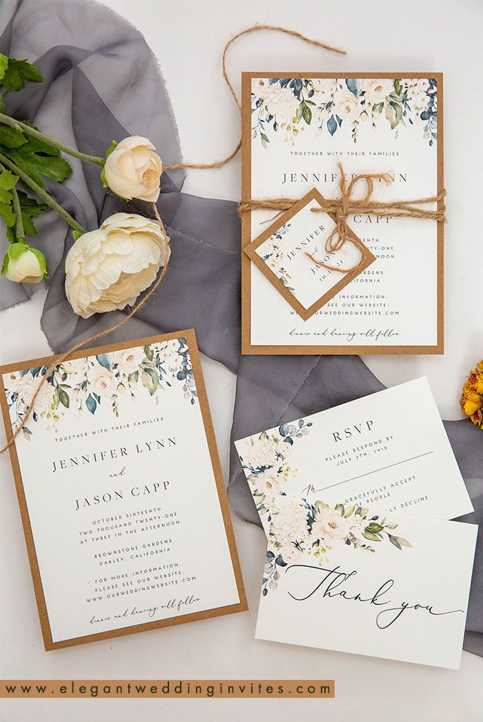 Rustic Greenery Wedding Invitation With Earth Toned Kraft Backing Card Ewis008 Fun Wedding Invitations Wedding Invitations Rustic Wedding Invitations