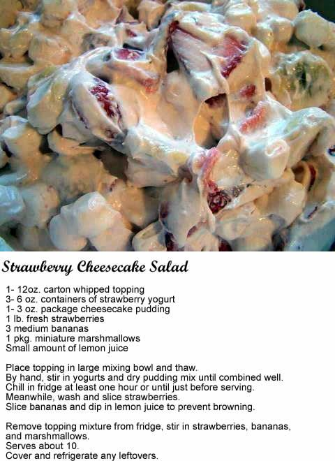 Strawberry Cheesecake Salad.  fruit, salads, food, recipes.