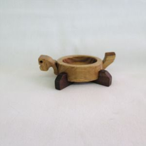 Handmade woodworking  turtle decoration candle holder - jabbugi 거북이 장식 자뿌기 3486