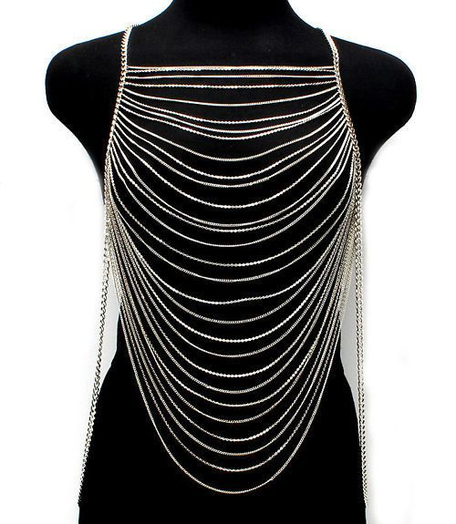 Womens Multi Layers Chains Waves Gold Or Silver Metal Body Jewelry Long Necklace on Etsy, £18.34