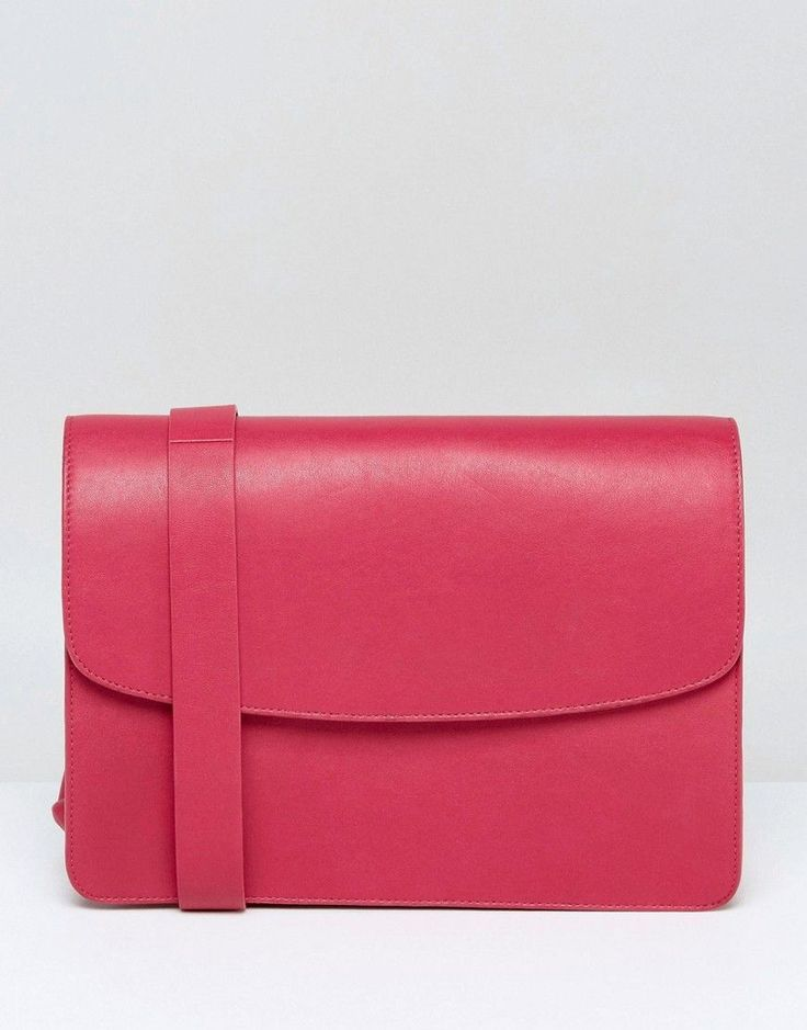 Vagabond Structured Leather Cross Body Bag In Cerise Pink Leatherpocketprotector