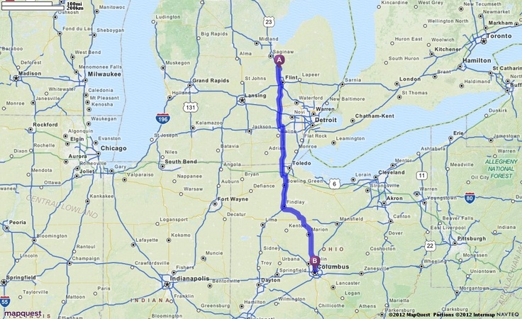 Driving Directions From 14467 N Saginaw Rd Clio Michigan 48420 To Ohio Expo Center State