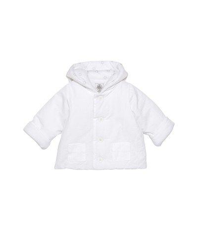 Giacca con cappuccio bebé unisex in seersucker imbottita bianco Ecume - Petit Bateau