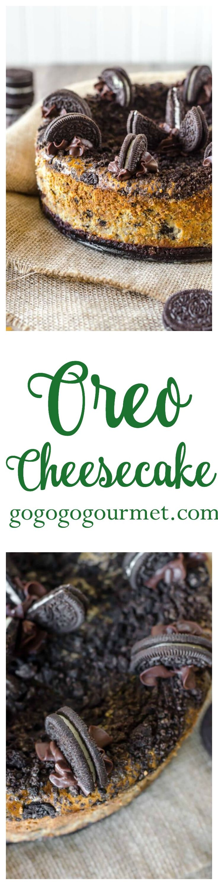 With FORTY Oreos in this cheesecake (plus a layer of chocolate ganache!), how could this be anything but incredible? Oreo Cheesecake | Go Go Go Gourmet @gogogogourmet
