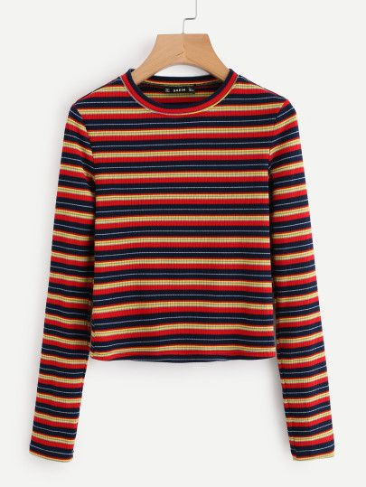 2542986283 SHEIN Colorful Striped Ribbed Tee EmmaCloth-Women Fast Fashion ...