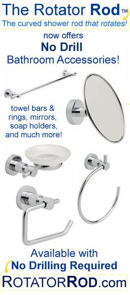 New Bathroom Accessories   With No Drilling Required! Shower RodShower ...