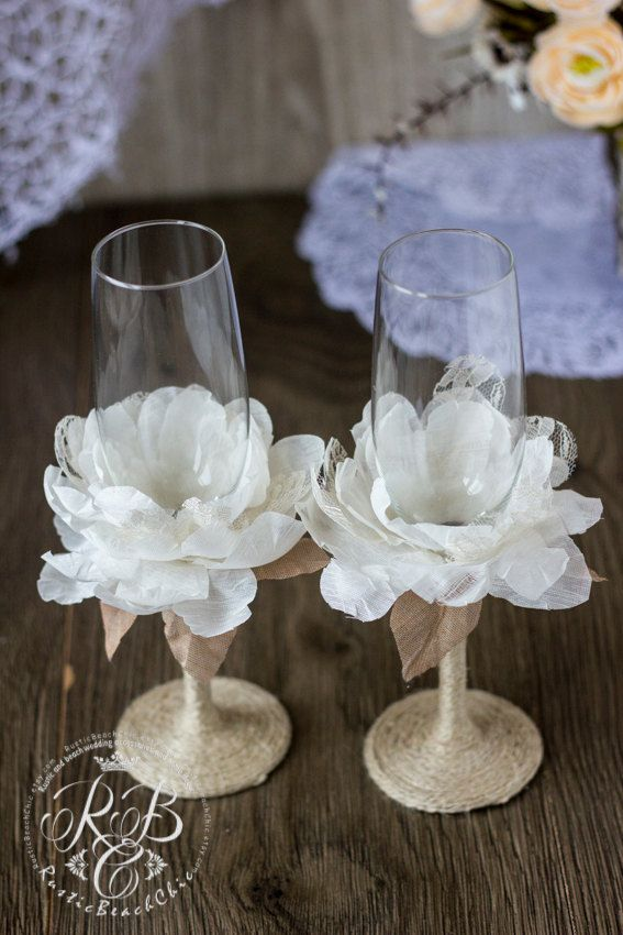 Vintage Chic Wedding Champagne Glasses with от RusticBeachChic