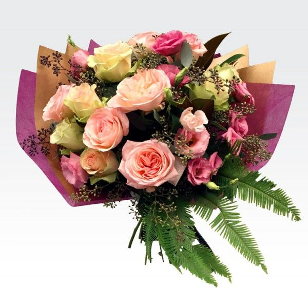 A beautiful classic mix of lush roses and complimenting seasonal pink blooms. This soft, feminine, pretty bouquet is a guaranteed favourite.